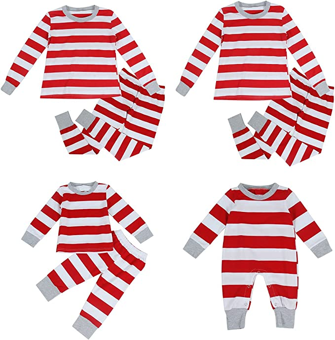 puseky Dad Mom Baby Kids Family Matching Christmas Striped Pajamas Set Sleepwear