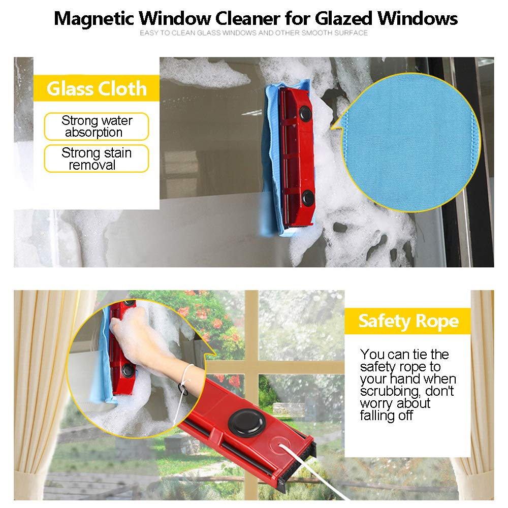 Magnetic Window Cleaner Squeegee Cleaning Brushes Tools for 0.1''-0.3'' Single Glazed Glass Suitable for Windows,Sliding Doors,Shower Screens,Car Windshields or Any Glass Surfaces by Acylulu Online (Image #2)