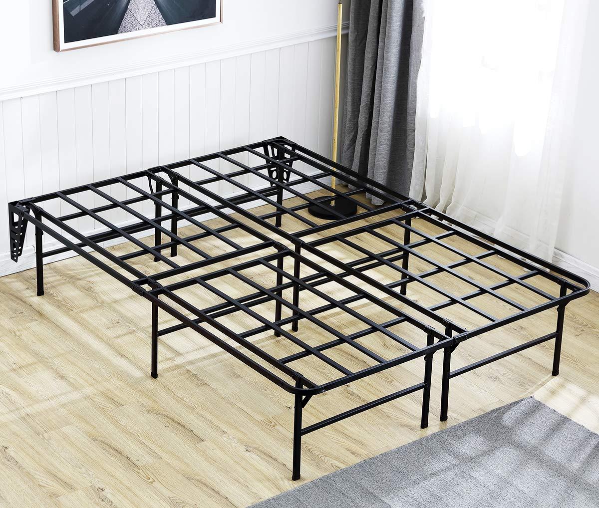 AmazonBasics Foldable Metal Platform Bed Frame for Under-Bed Storage – Tools-free Assembley, No Box Spring Needed – King Renewed