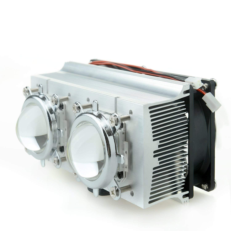 Tesfish Double Aluminium Heatsink Copper Core Cooling Fan+44mm Lens 120 Degree for 20-200W High Power LED