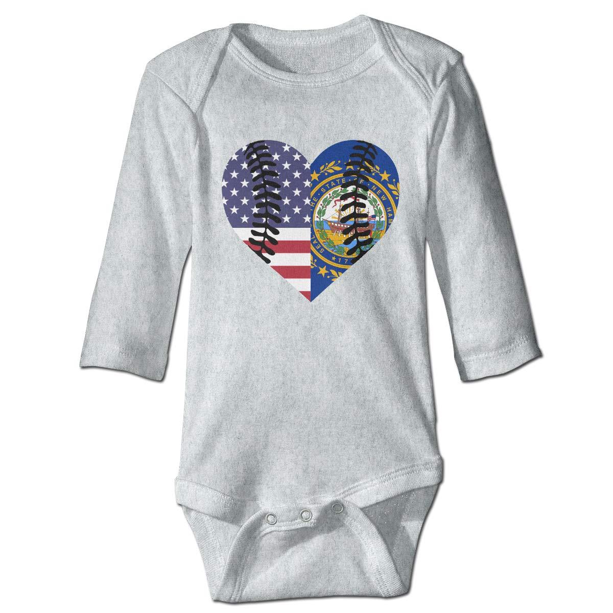 A14UBP Baby Infant Toddler Long Sleeve Climb Jumpsuit New Hampshire USA Flag Half Baseball Unisex Playsuit