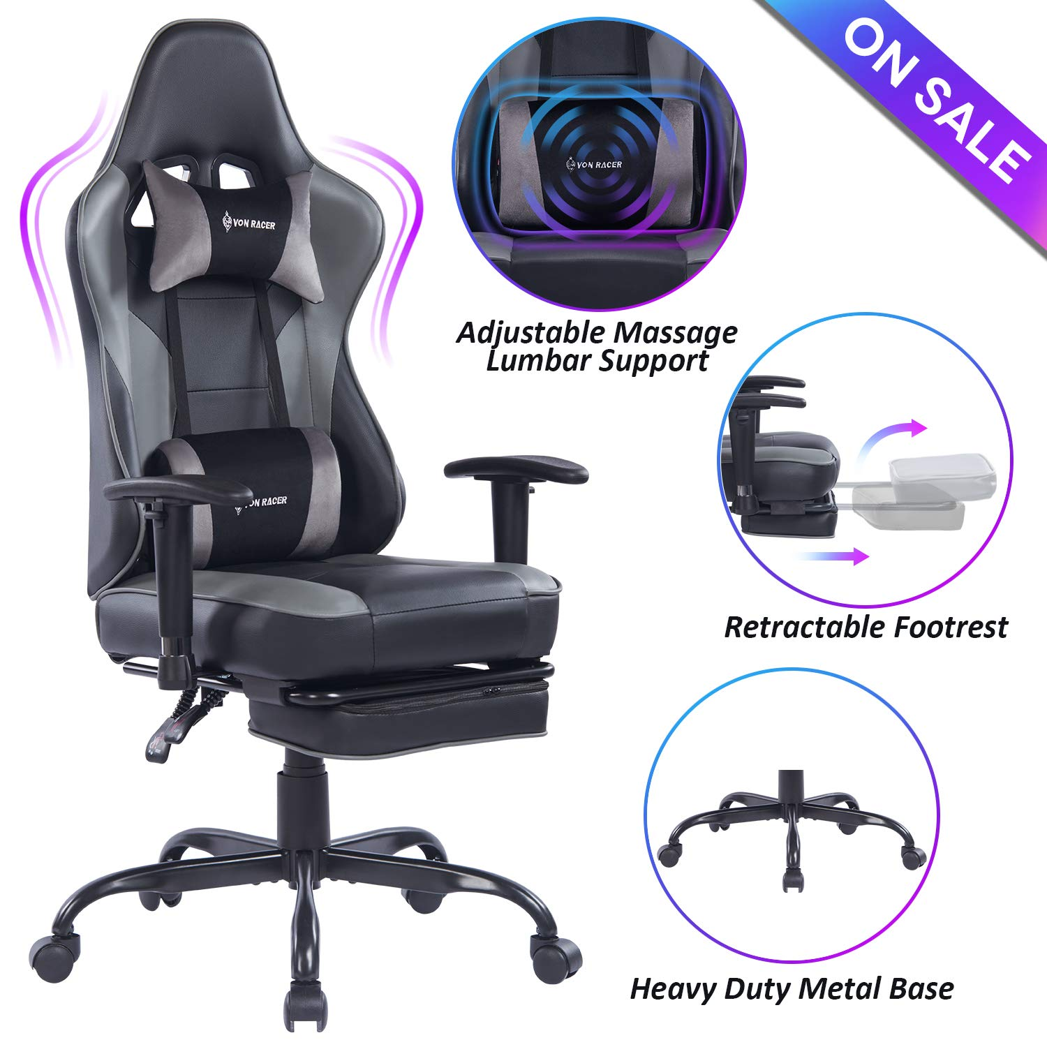 VON RACER Massage Gaming Chair – High Back Racing PC Computer Desk Office Chair Swivel Ergonomic Executive Leather Chair with Footrest and Adjustable Armrests, Gray Black