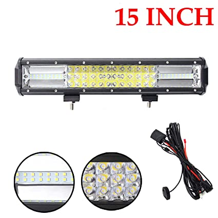 Amazon Com 15 Inch Led Light Bar With Wiring Harness 216w