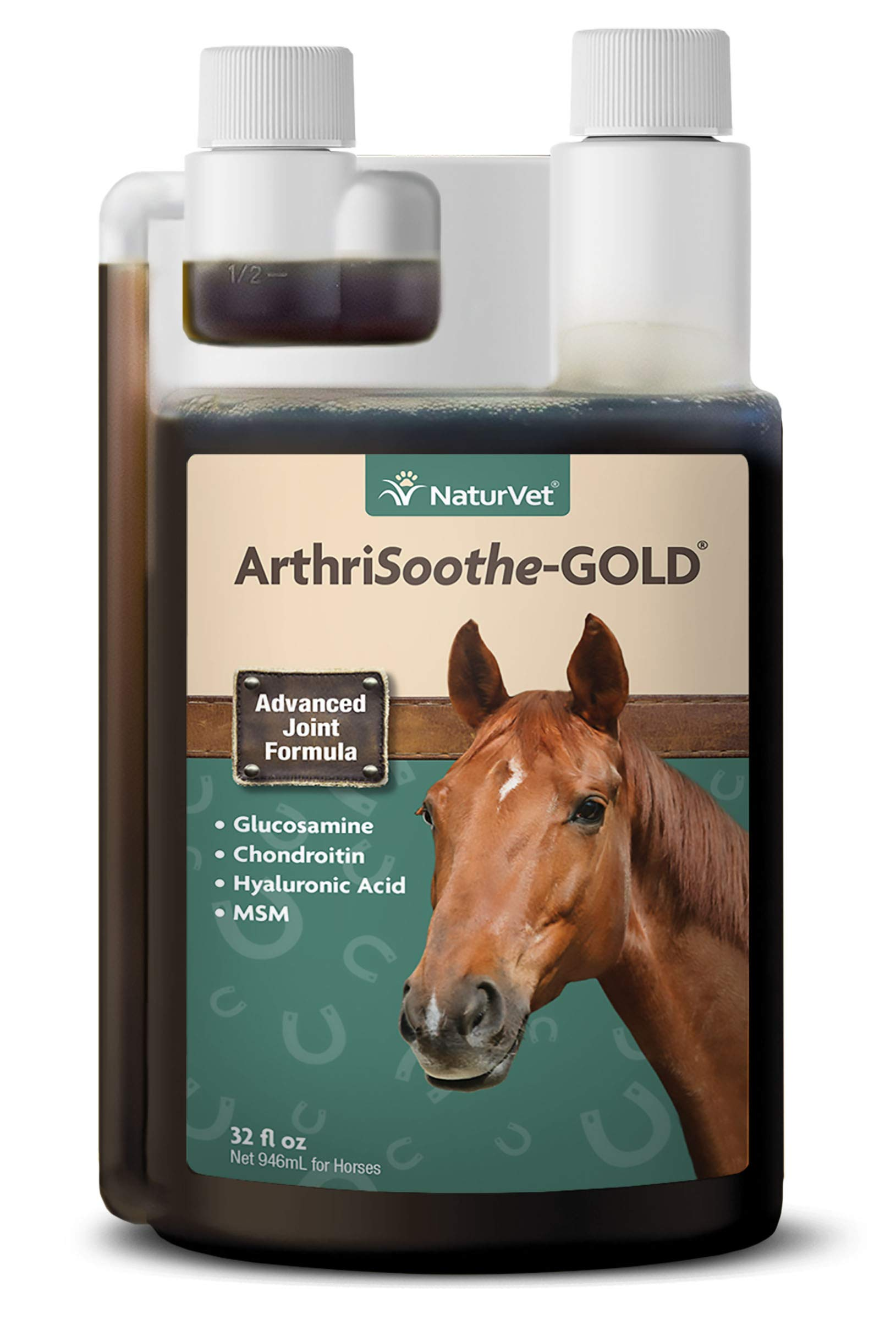 NaturVet - ArthriSoothe-Gold Advanced Joint Formula - Horse Liquid - Supports Healthy Joint Function - Enhanced with Glucosamine, MSM, Chondroitin & Hyaluronic Acid (32 oz Liquid) by NaturVet