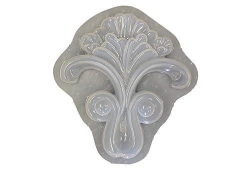 Amazon.com: Floral Applique placa hormigón molde de yeso ...