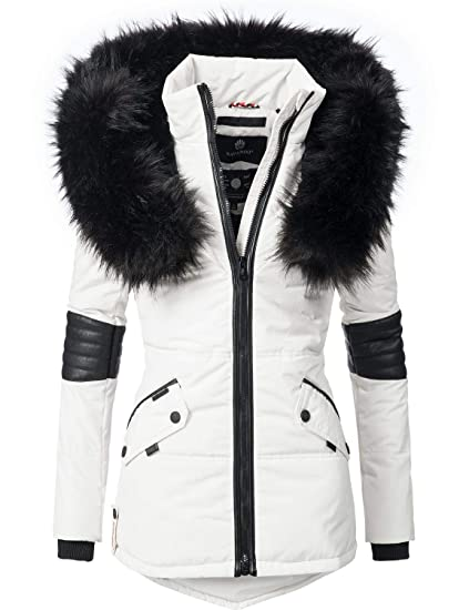Navahoo Nirvana Chaqueta de Invierno para Mujer con Capucha de Pelo sintético Negro 8 Colores XS-XXL