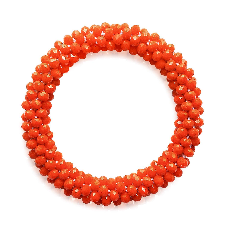 MHZ JEWELS Nepal Glass Beads Bracelet Stretchy Orange Red Braided Beaded Bracelet for Women Girls Jewelry Gift by MHZ JEWELS