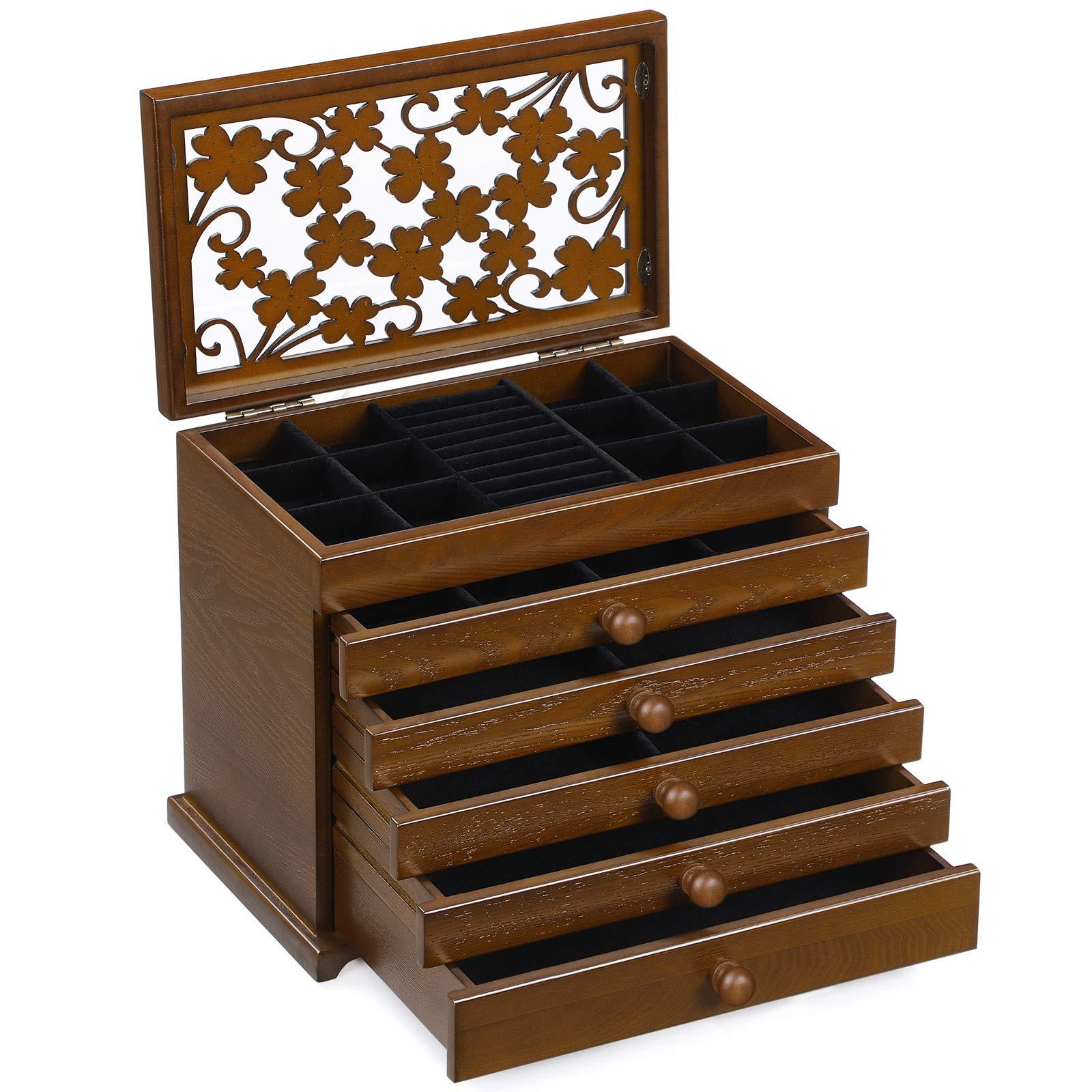 7c76183520fd SONGMICS Caja joyero de Madera Organizador para bisuterías Joyas Tapa  Tallada con Cristal Marrón JBC56W product