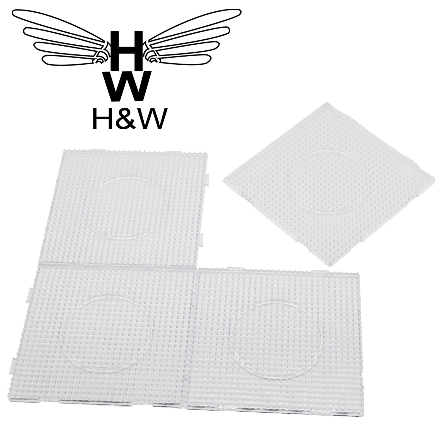 H/&W 4PCS 5mm Fuse Beads Boards WA3-Z1 with Gift 4 Lroning Paper Large Clear Pegboards Kits