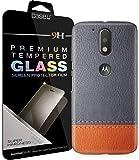 CASE U™ Printed GrayTan Leather Designer Premium PolyCarbonate Case Back Cover for Moto G4 Plus + Free Full Coverage Edge-to-Edge Tempered Glass [COMBO]