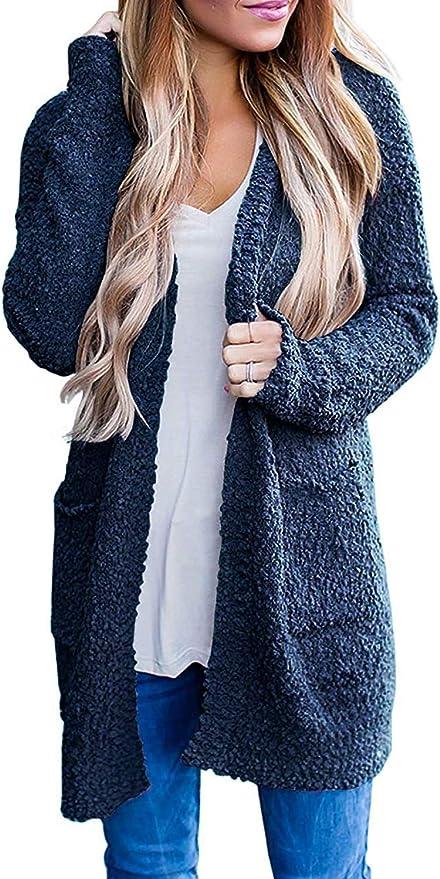 Jiuhexuj Women Long Sleeve Open Knit Long Cardigan Casual Print Knitted Maxi Sweater Coat Outwear with Pockets