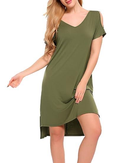Misakia Women Sleep Shirt V-Neck Nightgown Short Sleeve Sleep Dress ... 8c82da747