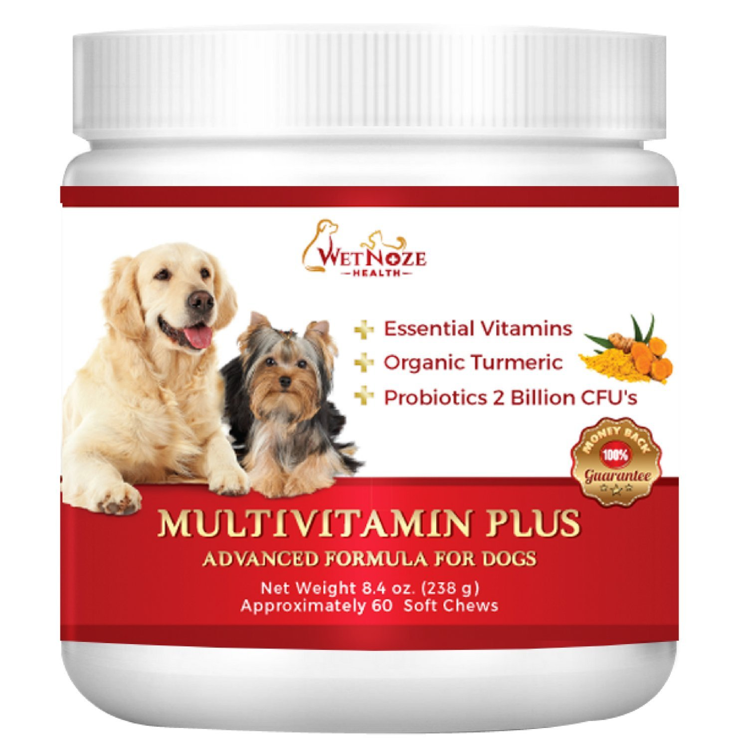 WetNozeHealth Vitamins for Dogs - Canine Multivitamin Supplement with Organic Turmeric and Probiotics for Large and Small Dogs, Chicken Flavor - 60 Soft Chews by WetNozeHealth
