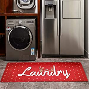 USTIDE Christmas Rugs for Laundry Kitchen Farmhouse Laundry Room Decoration Runner Anti-Skid Rubber Mat Holiday Carpet Gift Foam Kitchen Runner, 20X48Inch