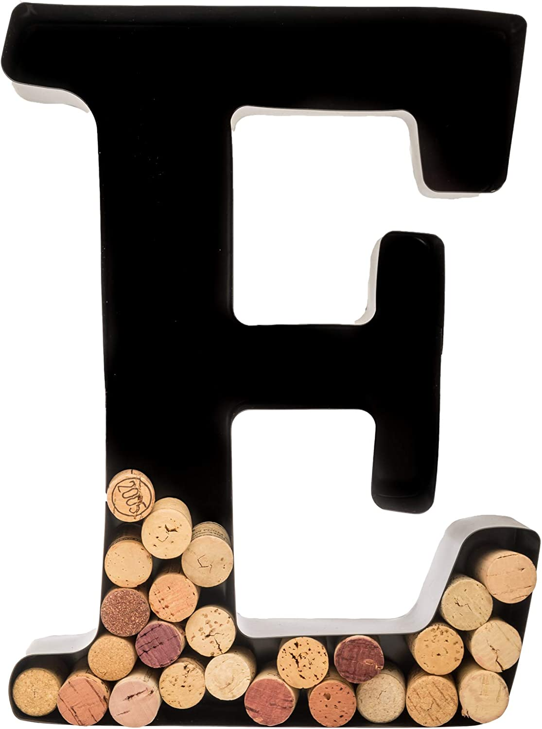 Wine Cork Holder - Metal Monogram Letter E, Black, Large | Wine Lover Gifts, Housewarming, Engagement & Bridal Shower Gifts | Personalized Wall Art | Home Décor