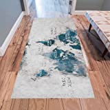 Amazon interestprint grey world map area rug floor mat 7 x 5 annhomeart world map oceans and continents area rug modern carpet runner rug 7x3 gumiabroncs Choice Image