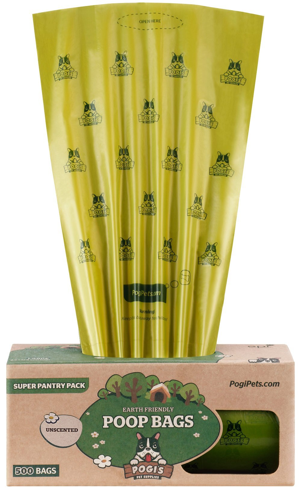 Pogi's Poop Bags - 500 Unscented Bags for Pantries - Large, Earth-Friendly, Leak-Proof Pet Waste Bags (Single Large Roll)