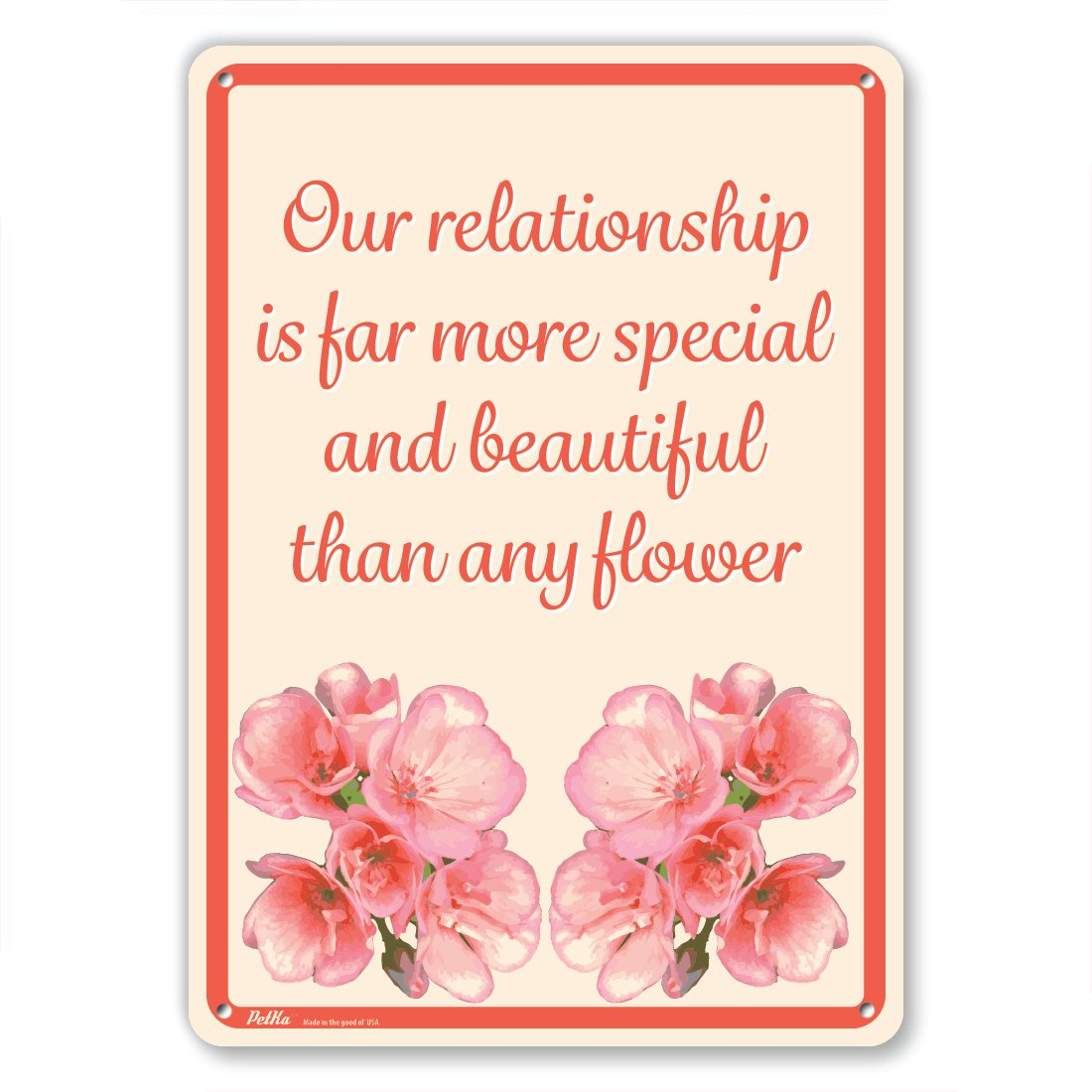 7 x 10 PetKa Signs and Graphics PKFW-0116-NA/_7x10Our relationship is far more special and beautiful than any flower Aluminum Sign Red Flowers on Cream