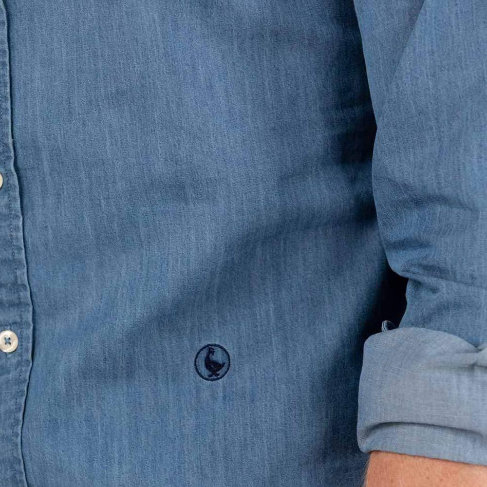 El Ganso Colecci/ón AW19 Manga Larga Camisa Denim Lisa para Hombre