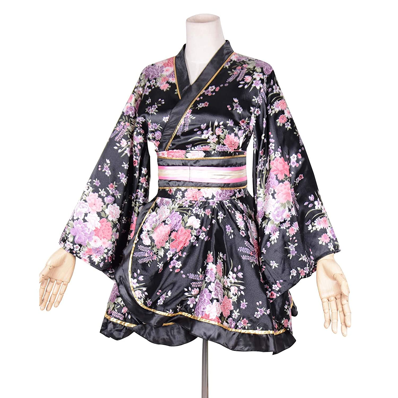 ff1184ec778e5 Amazon.com: Kimono Bathrobe Costume Japanese Traditional Yukata Cosplay  Women's Sexy Sakura Pattern (Black): Clothing