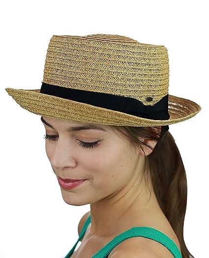 64104f16d42a2 C.C Unisex Solid Color Band Weaved Upturn Brim Summer Pork Pie Hat ...