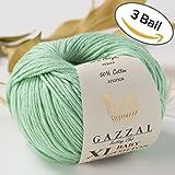 3 Pack (Ball) Gazzal Baby Cotton XL Total 5.28 Oz / 344 Yrds, Each Ball 1.76 Oz (50g) / 114 Yrds (105m) Super Soft, DK- Worsted Baby Yarn, 50% Turkish Cotton, Pastel Green - 3425