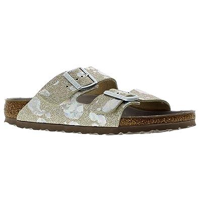 0b90b9afdbc36 Birkenstock Womens Arizona Spotted Metallic Silver Leather Sandals ...