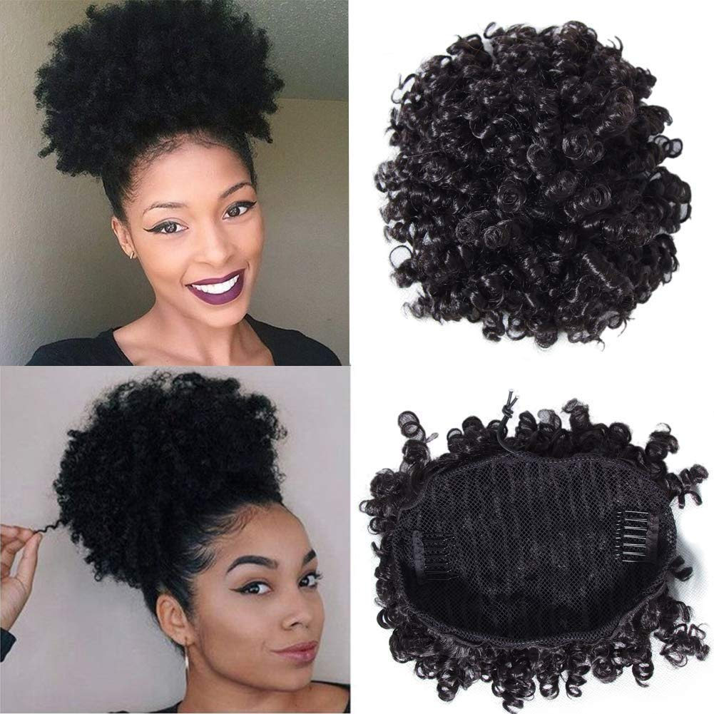YIROO Small Afro Curly Human Hair Bun Ponytail Extensions 6 Inches Short Cute Curly Wrap Drawstring Puff Ponytails Hairpieces for Women with Clips Natural Color (6inch) by YIROO