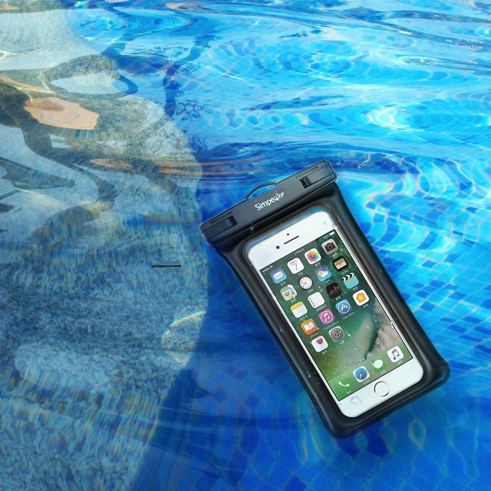 Huawei Simpeak Funda Compatible Sumergible Movil Universal 5.8 Pulgadas,Funda estanca Bolsa Impermeable movil Funda Sumergible Flotante para iPhone Samsung Negro