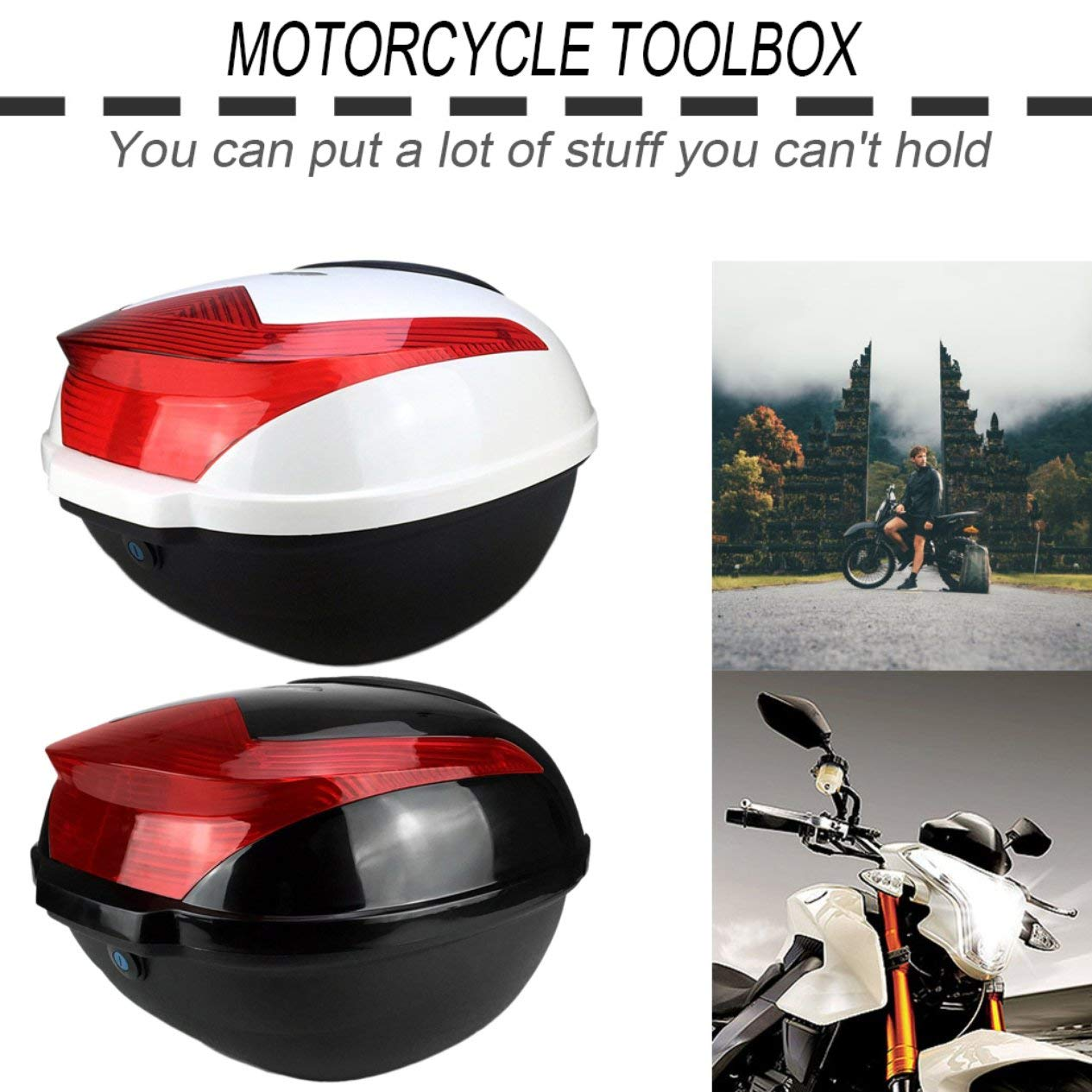 EdBerk74 Grande capacit/é antichoc moto box of bike box universel avec top lock