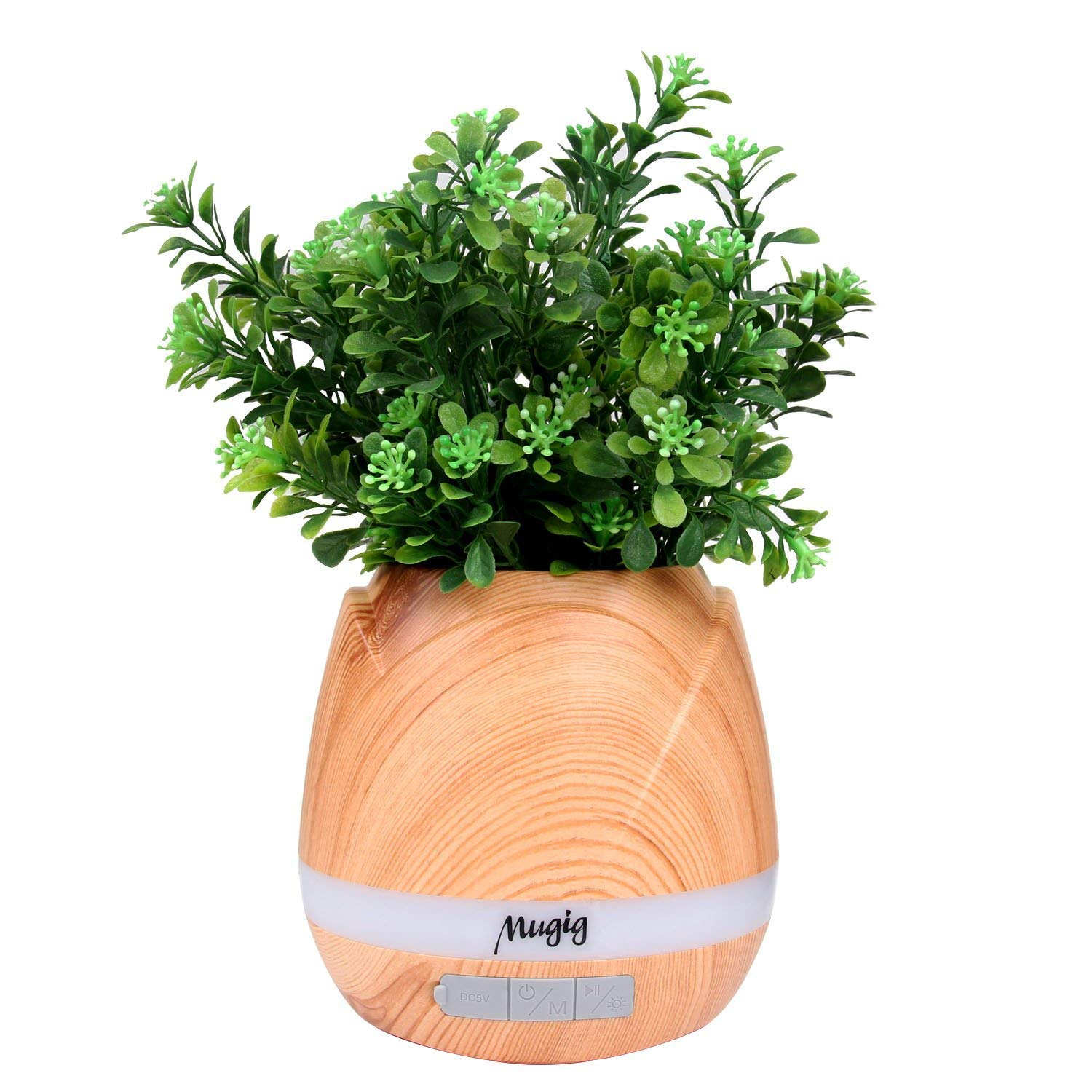 Mugig Music Flower Pot Bluetooth Speaker & Music Player with Colorful Night Lights, Touching Plants for Music