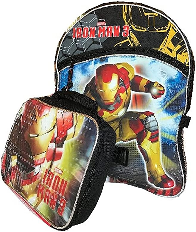 Marvel Avengers Iron Man Backpack Large with Lunchbox Lunch Bag Set