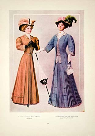 631f39ee1b6 1908 Color Print Fashion Costume Clothing Dress Edwardian Portrait Women  Plume - Original Color Print at Amazon s Entertainment Collectibles Store