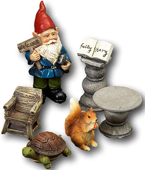 Amazon Com Set Of 6 Cute Miniature Garden Fairy Scene Figurines