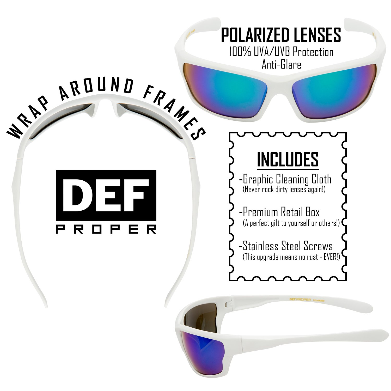680f66111cc5 DEF Proper Polarized Wrap Around Sports Sunglasses ... polarized sunglasses  define