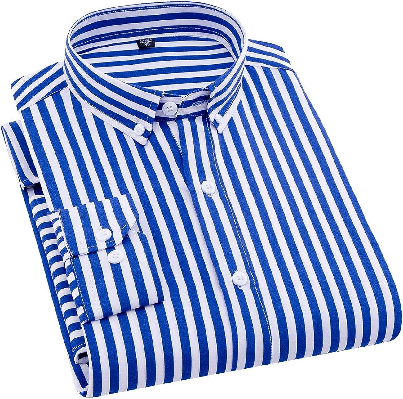 ERZTIAY Camisa de Vestir de Manga Larga con Corte Ajustado, Estilo clásico, Informal, Vertical, a Rayas, para Hombre - Azul - Large: Amazon.es: Ropa y accesorios