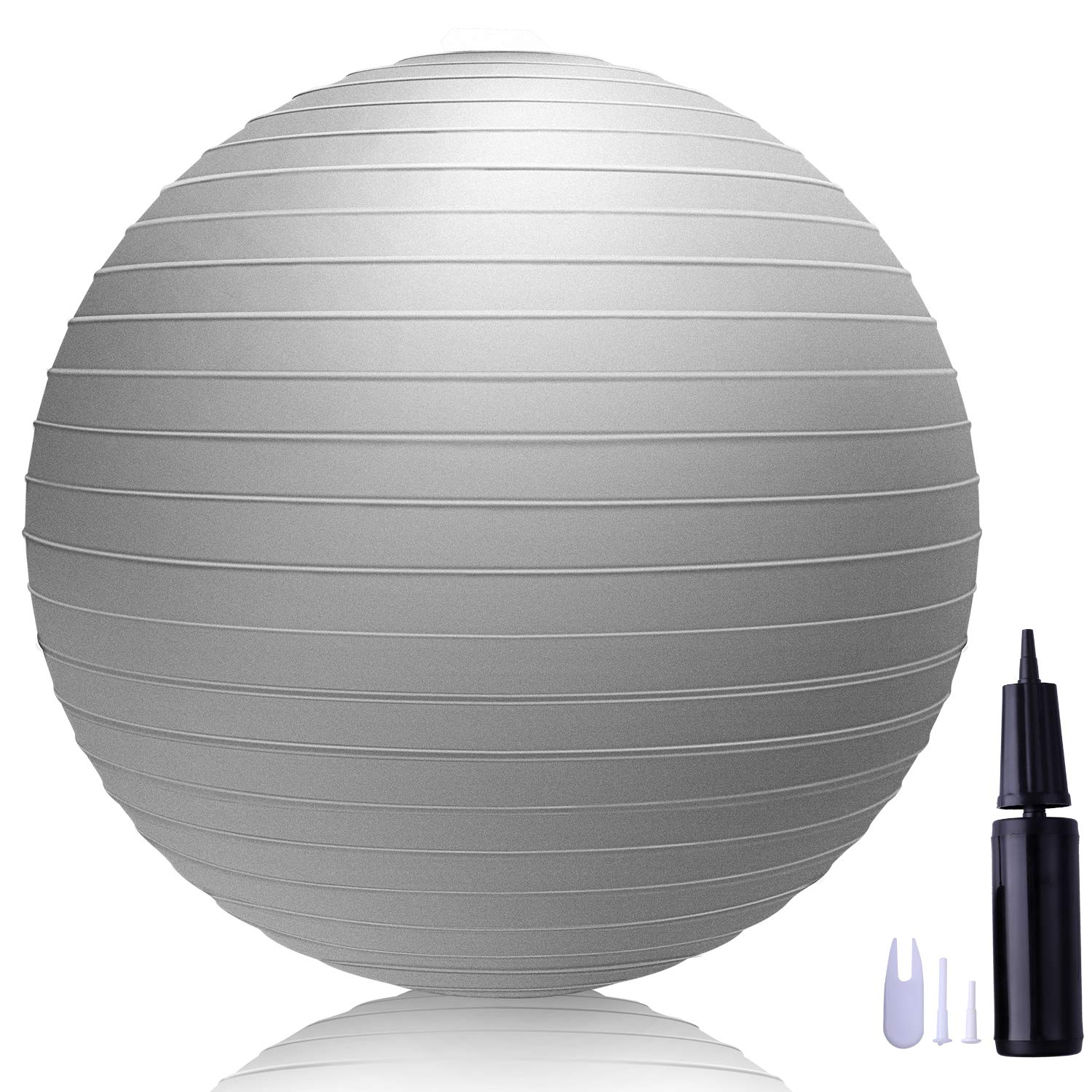 LAKIBOLE 75cm Exercise Ball Anti-Burst Yoga Ball with Quick Pump for Office & Home & Gym (Gray)