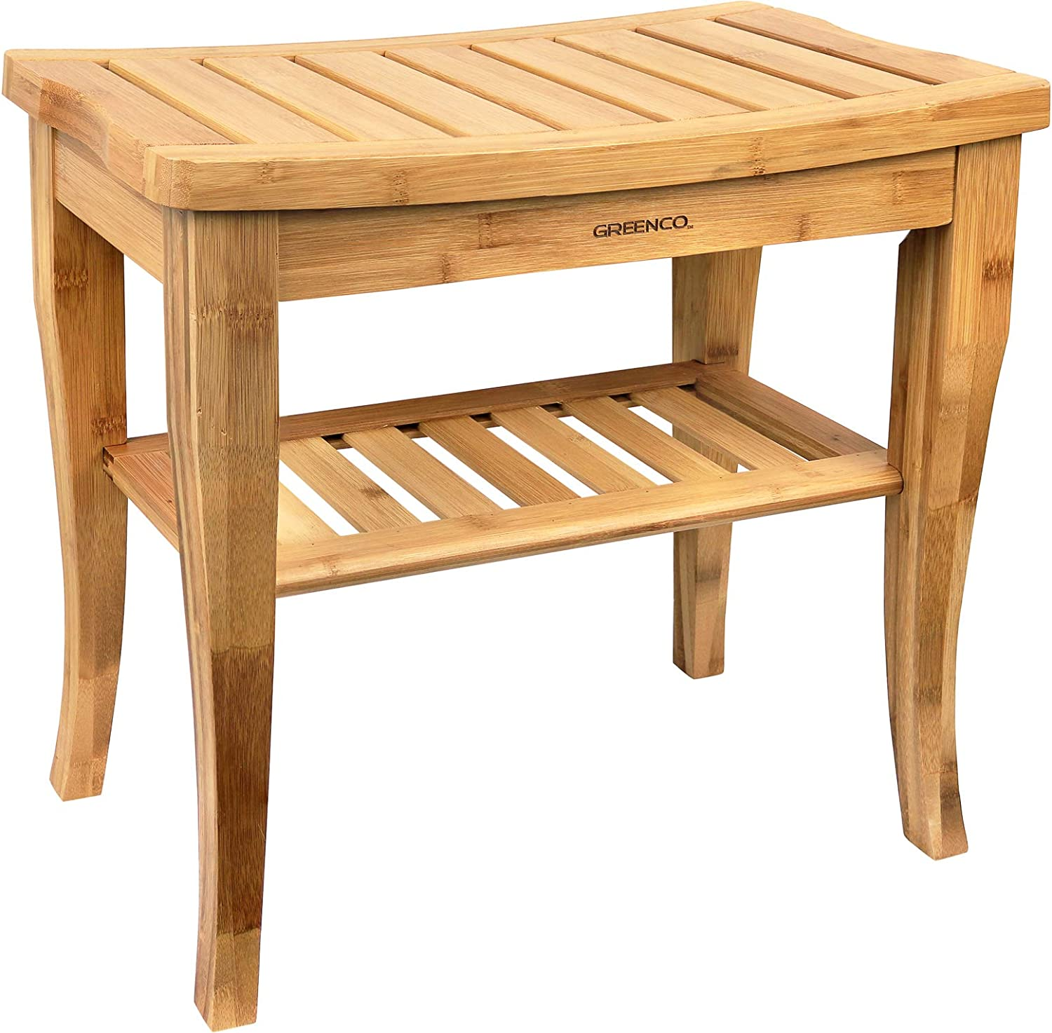 Greenco Waterproof Bamboo Shower Bench with Shelf, Wooden Spa Bath Stool, Indoor and Outdoor.