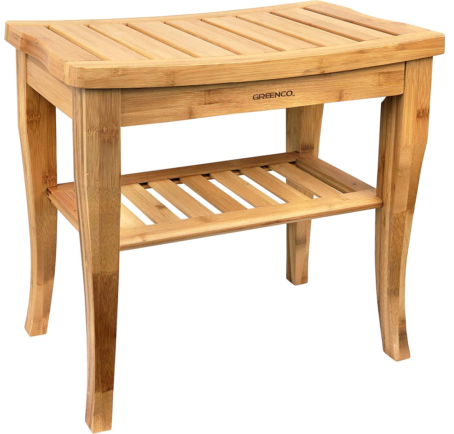Greenco Waterproof Bamboo Shower Bench with Shelf, Wooden Spa Bath Stool, Indoor and Outdoor
