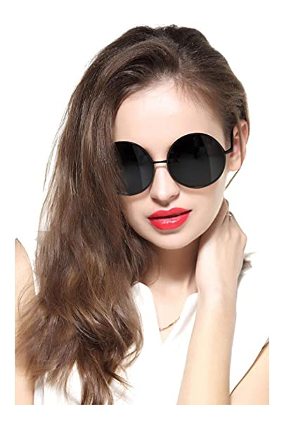 2df78c019e2 GEELOOK Oversized Round Circle Mirrored Hippie Hipster Sunglasses - Metal  Frame (Black Matte Frame