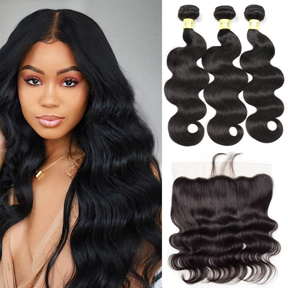Brazilian Virgin Hair 3 Bundles with Frontal (12 14 16 +10 Frontal) Brazilian Body Wave Human Hair 13x4 Ear to Ear Lace Frontal Closure With Bundles Frontal with Baby Hair Natural Color
