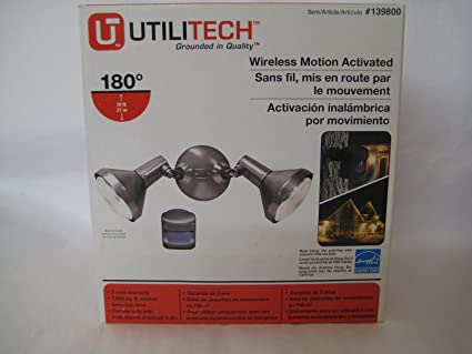 UtiliTech Oudoor Motion Sensor Security Floodlight, Remote Wireless Motion Activated
