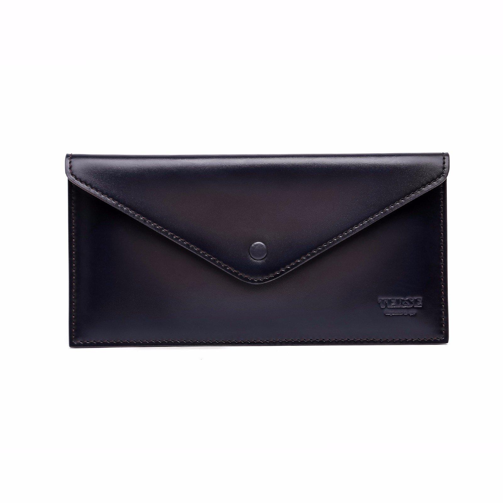 TERSE Men's Clutch Bag Leather Wallet Card Holder Messenger Bags (Iron Grey)
