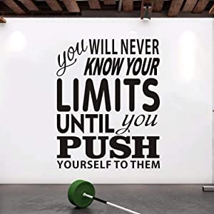 """VODOE Inspirational Wall Decals, Gym Wall Decal, Quote Motivational Fitness Sports Workout Home Classroom Motivate Art Decor Vinyl Stickers Exercise Sign You Will Never Know Your Limits 16"""" x 20"""""""