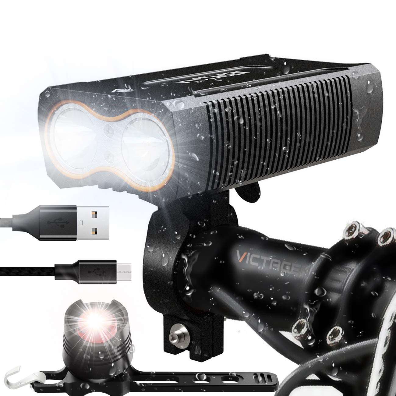 victagen USB Rechargeable Bike Light,Super Bright 2400 Lumens and Free Bike Tail Light Helmet Light