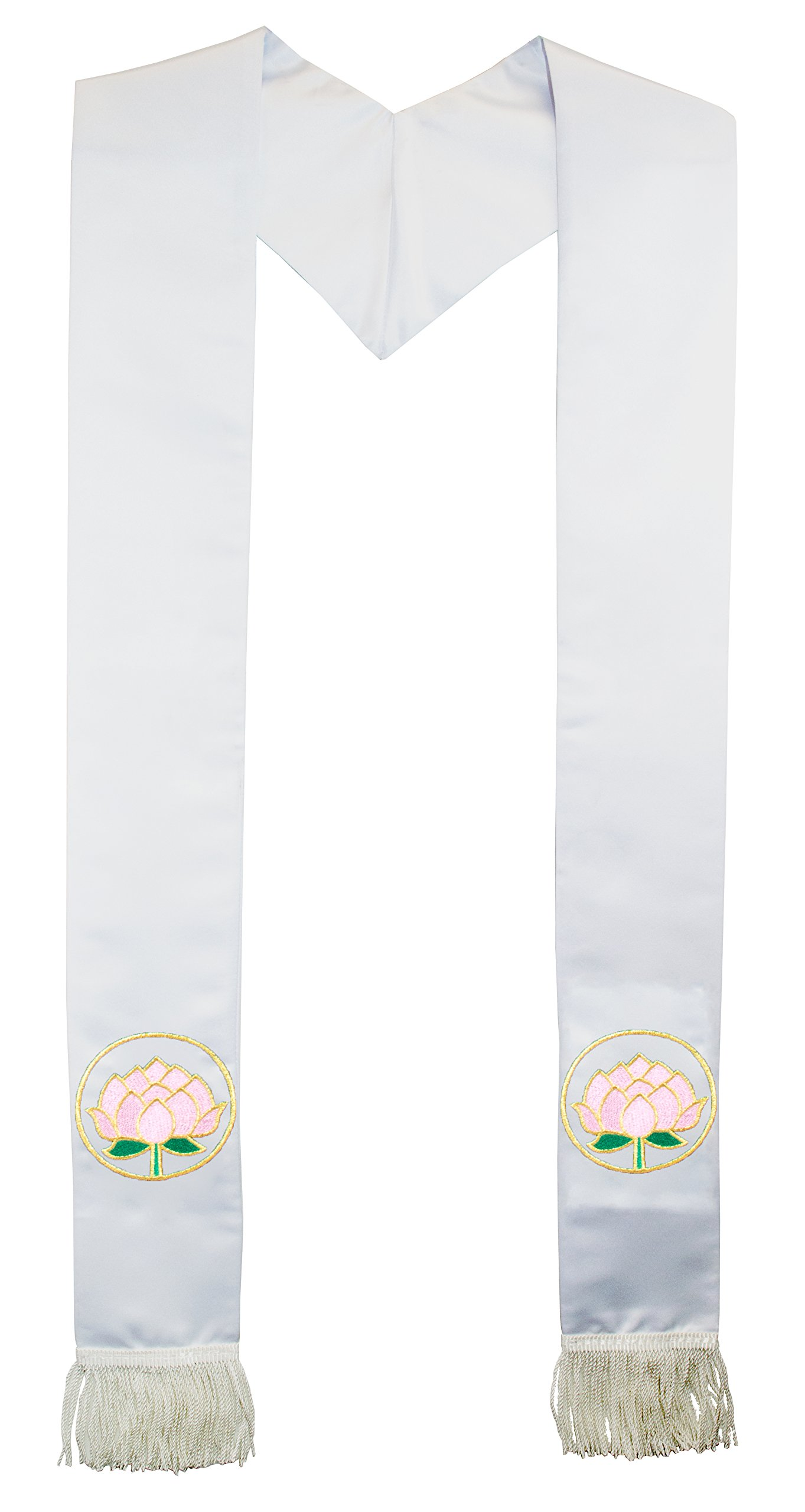 Deluxe Fringe White Satin Clergy Stole with Embroidered Lotus Flower