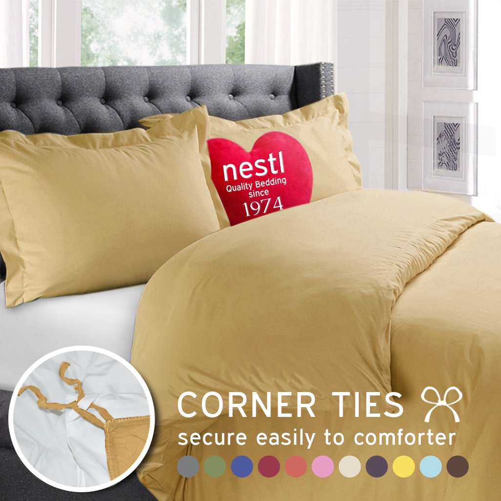 Nestl Bedding 3-Piece Microfiber Full Duvet Cover Set, Camel Yellow Gold