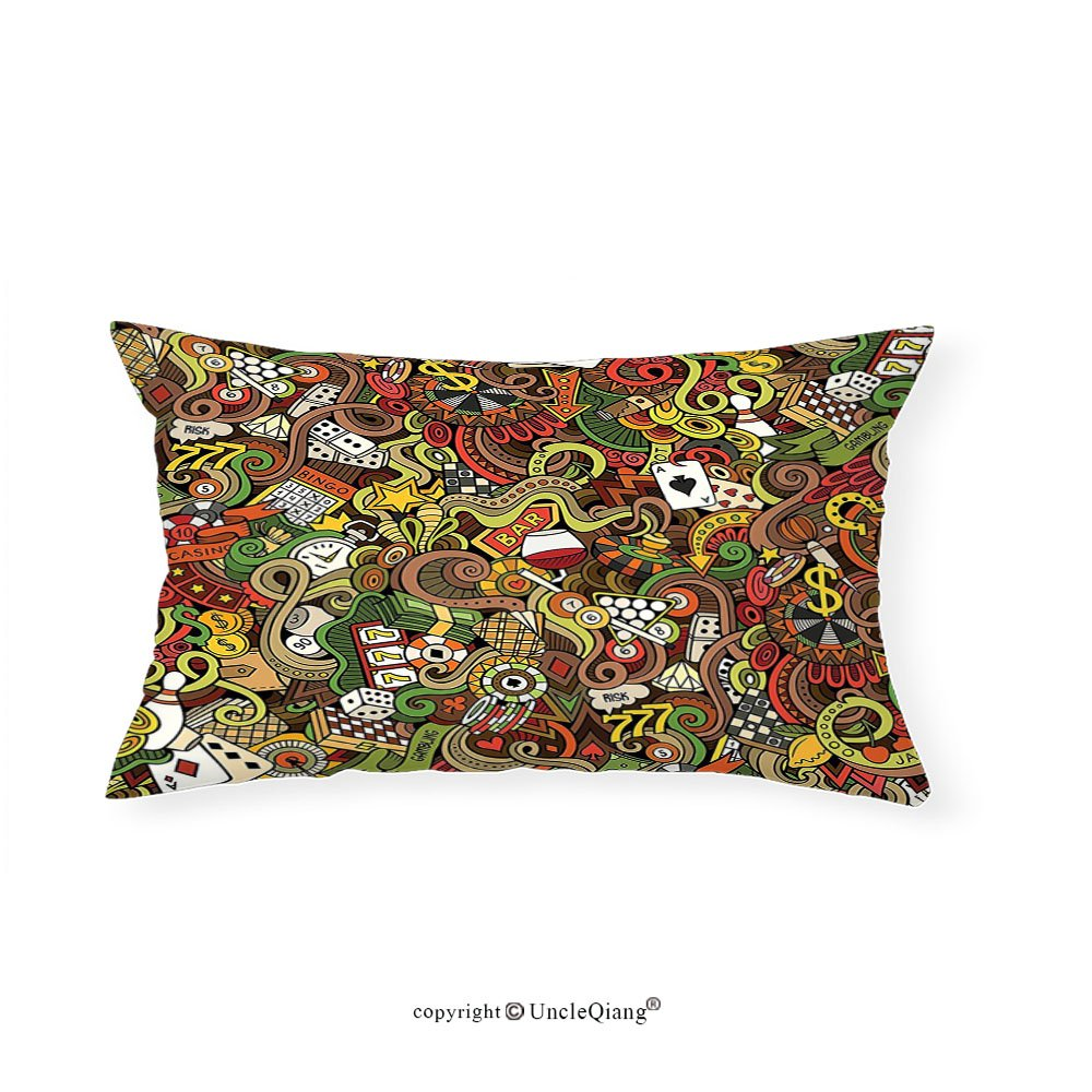 VROSELV Custom pillowcasesCasino Decorations Doodles Style Art Bingo Excitement Checkers King Tambourine Vegas Bedroom Living Room Dorm Decor (12''x24'')