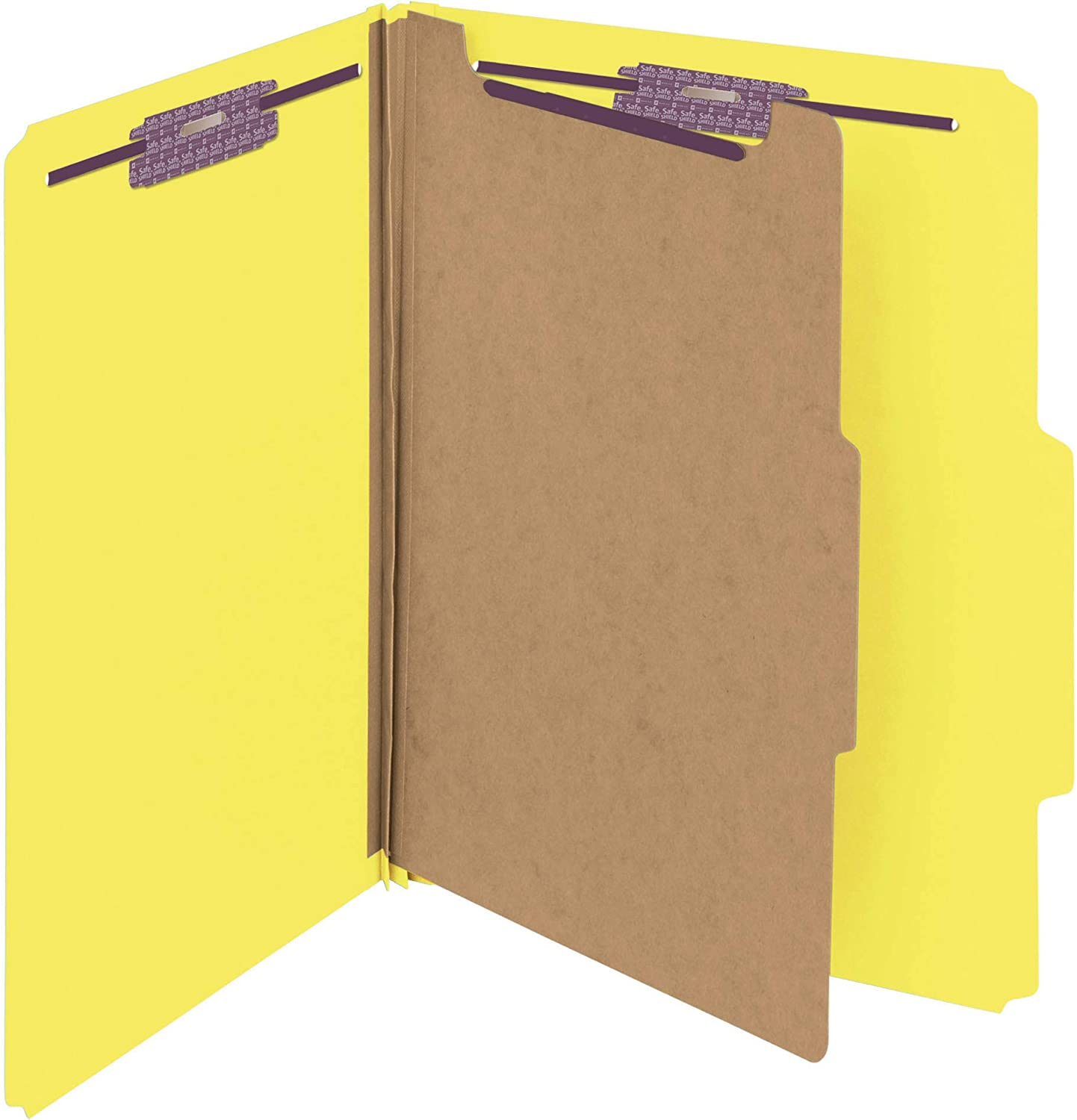 "Smead Pressboard Classification File Folder with SafeSHIELD Fasteners, 1 Divider, 2"" Expansion, Letter Size, Yellow, 10 per Box (13734)"