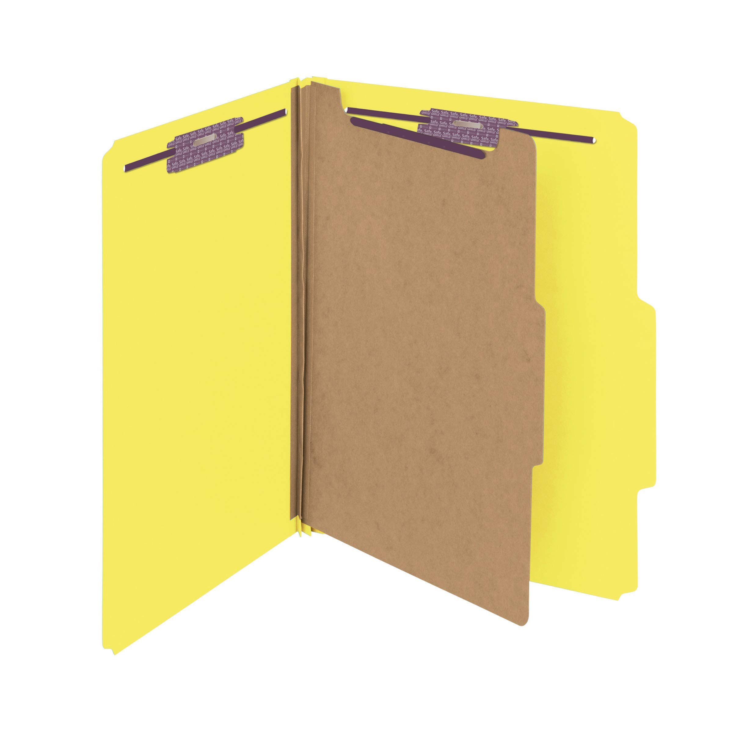Smead Pressboard Classification File Folder with SafeSHIELD Fasteners, 1 Divider, 2'' Expansion, Letter Size, Yellow, 10 per Box (13734)
